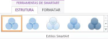 Grupo Estilos de SmartArt no separador Estrutura em Ferramentas SmartArt