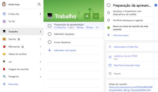 Captura de Ecrã de lista de Trabalho com Preparação para apresentação aberta em vista de detalhes