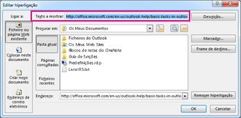 caixa de diálogo Editar ligação