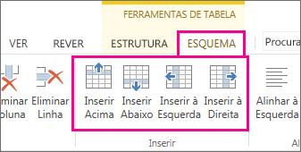 Imagem das opções do esquema para adicionar linhas e colunas em tabelas