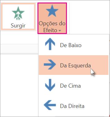 Clique em Opções de Efeito