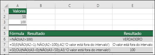 Exemplos da função NÃO com funções SE, E ou OU