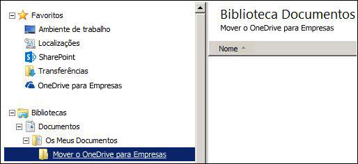 Uma pasta para ficheiros de teste para ser movida para o Office 365