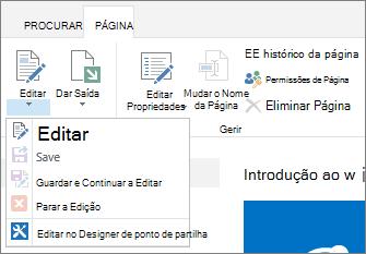 Fita de página mostrando botões desativados