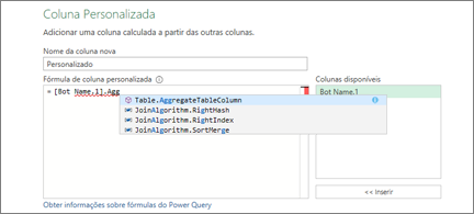 Caixa de diálogo de Coluna Personalizada com uma seleção de algoritmos de associação apresentada