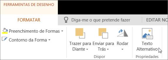 Captura de ecrã a mostrar o separador Formatar das Ferramentas de Desenho com o cursor a apontar para a opção Texto Alternativo.