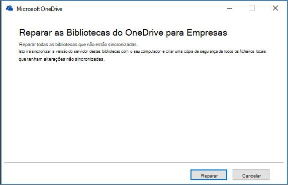 Caixa de diálogo Reparar a Sincronização do ODB