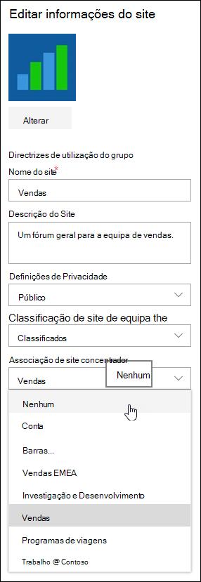 Desassociar um site a partir de um site concentrador do SharePoint