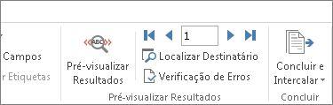 Captura de ecrã a mostrar o separador Correio no Word e o grupo Pré-visualizar Resultados.