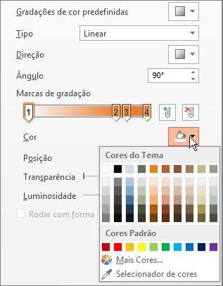 Alterar a cor de cada marca de gradação