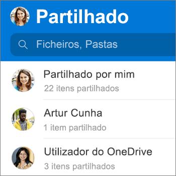 Vista de ficheiros partilhados na aplicação OneDrive para Android