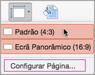 Clique em Configuração de Página