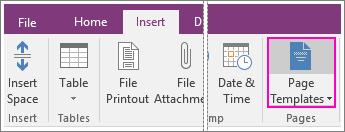 Captura de ecrã do botão Modelos de Páginas no OneNote 2016.