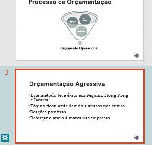 Realce de revisão no painel de miniaturas do PowerPoint