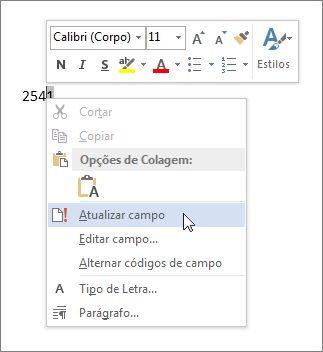 comando Atualizar Campo
