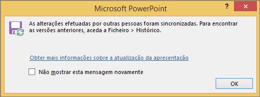 Mostra a mensagem Alterações sincronizadas no PowerPoint