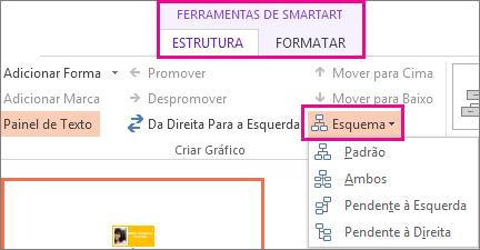 As opções de esquema de um organograma SmartArt