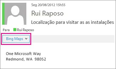 Mensagem do Outlook a mostrar a aplicação Mapas Bing