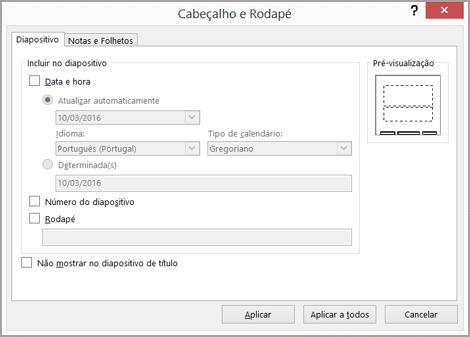 Caixa de diálogo Cabeçalho e Rodapé