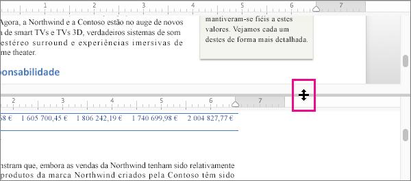 Pode dividir a janela para apresentar diferentes partes do mesmo documento, bem como apresentar diferentes vistas.