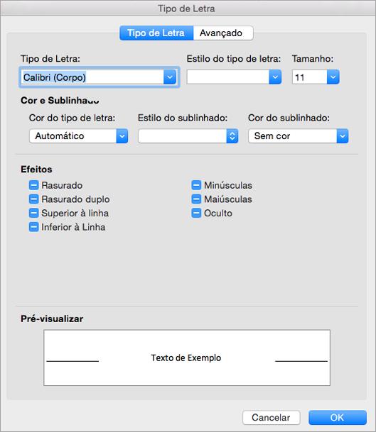 Mostra o separador de tipo de letra na caixa de diálogo Tipo de letra