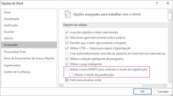 Caixa de diálogo de opções do Word avançada, em Opções de edição, utilize caixa de verificação do modo de substituição