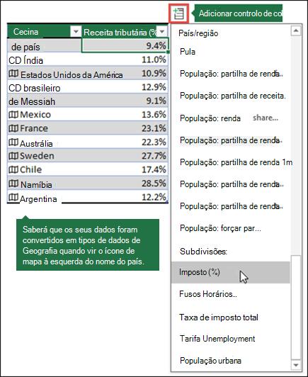 Adicione uma coluna a um tipo de dados de geografia selecionando uma propriedade a partir do botão Add Column.