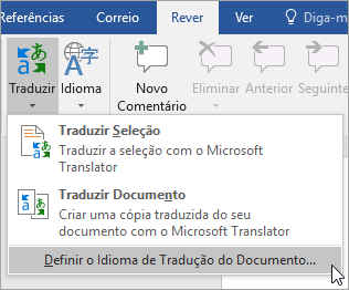 Mostra Definir idioma de tradução do documento em theTranslate menu