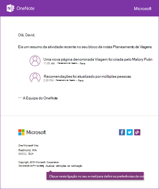 Uma mensagem de correio eletrónico de notificação do exemplo OneNote