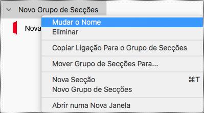 Mudar o nome de um grupo de secções no OneNote para Mac