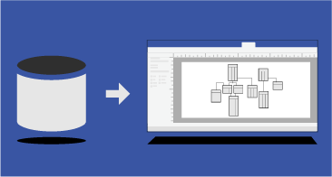 Ícone de base de dados, seta, diagrama do Visio a representar uma base de dados