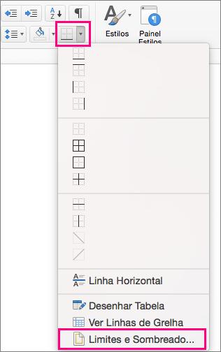 No separador Base, o ícone Limites e Limites e Sombreado estão realçados.