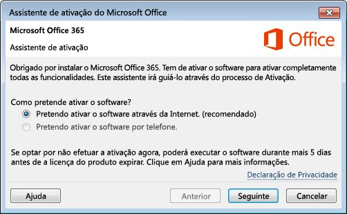 Mostra o Assistente de Ativação do Office 365