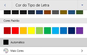Menu de cores de fonte android