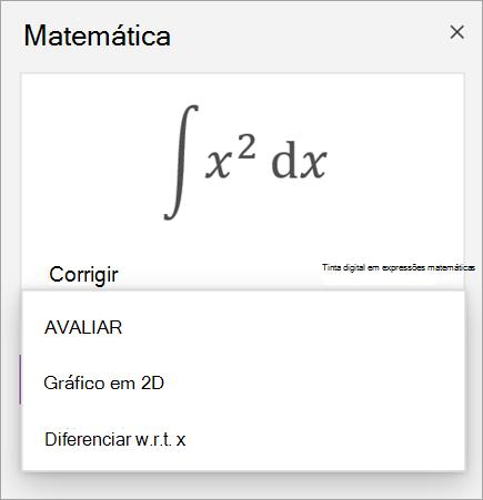 Equação de exemplo a mostrar opções de solução para derivativos e integrantes