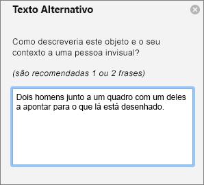 Painel Texto Alternativo para adicionar texto alternativo a uma imagem no Outlook