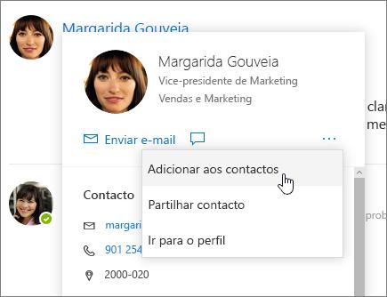 Captura de ecrã de um cartão de contacto aberto, com a opção Adicionar aos contactos selecionada