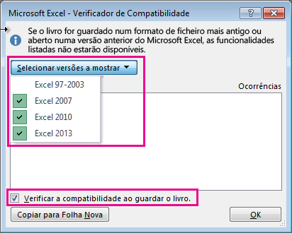 O Verificador de Compatibilidade, a mostrar as versões a verificar