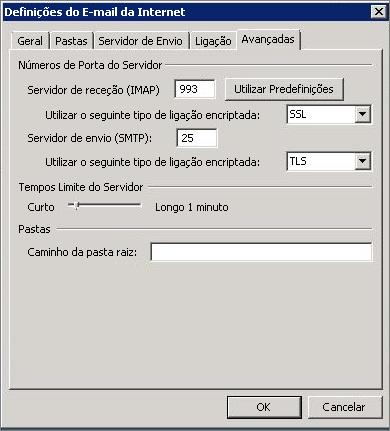 Captura de ecrã a mostrar o separador Avançadas na caixa de diálogo Definições de Correio Electrónico da Internet.