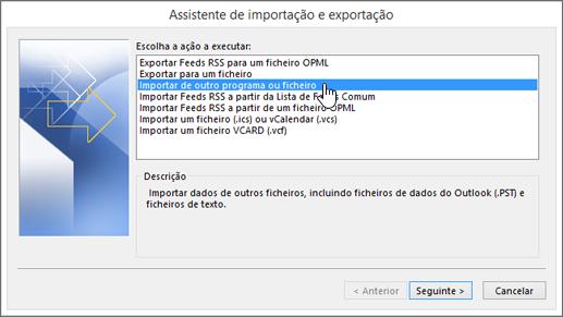 assistente de importação e exportação – importar de outro programa ou ficheiro