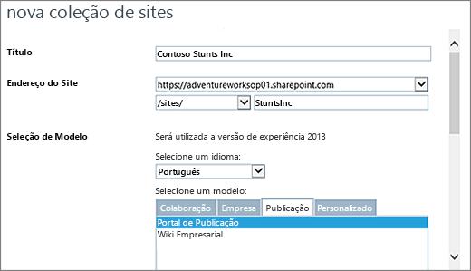 Nova caixa de diálogo de coleção de sites metade superior com o Portal de publicação realçada