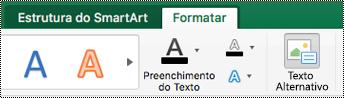 Botão de texto alternativo para formas no Friso no Excel para Mac