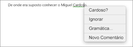 Erro gramatical com o menu contextual a mostrar opções de correção