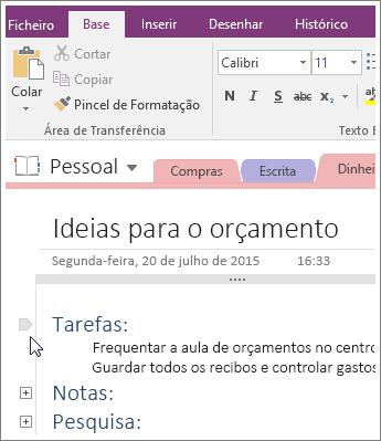 Captura de ecrã a mostrar como fechar um destaque no OneNote 2016.
