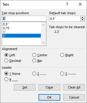 Caixa de diálogo Tabulações