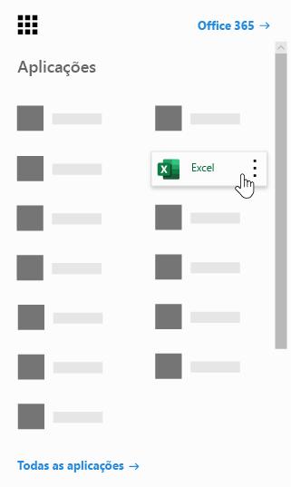 O iniciador de aplicações do Office 365 com a aplicação Excel realçada