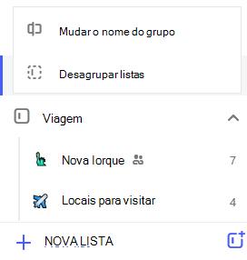 Captura de tela do menu Editar grupo de lista aberta com a opção para mudar o nome de listas de grupo ou desagrupar.