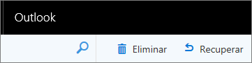 Uma captura de ecrã mostra as opções Excluir e Recuperar na barra de ferramentas do Outlook na Web.