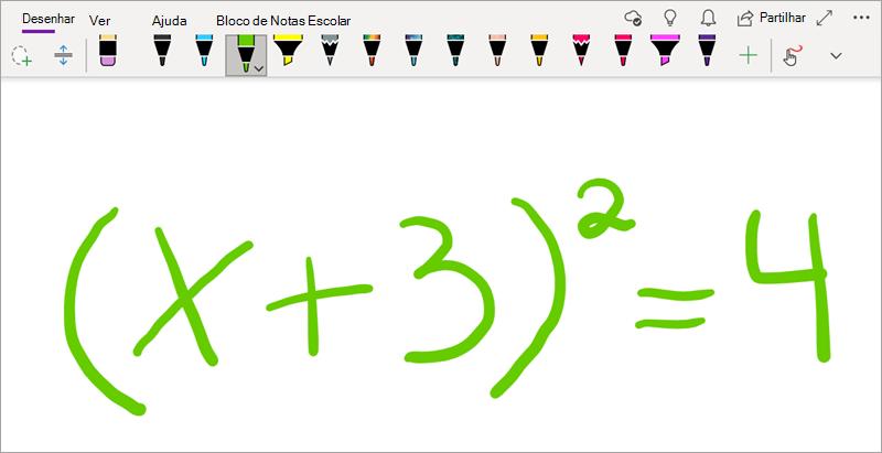 Escrever equações matemáticas no OneNote para Windows 10