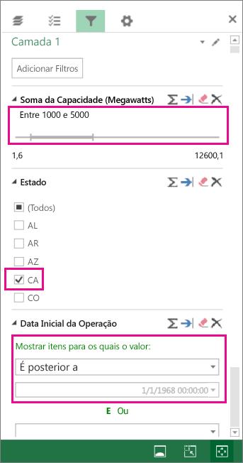 Filtros para números, valores de texto e datas